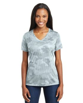 Sport Tek LST370 Ladies Camohex V Neck T-Shirt