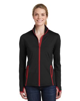 Sport Tek LST853 Ladies Sport Wick Stretch Contrast Full Zip Jacket