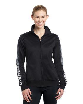 Sport Tek LST93 Ladies Dot Sublimation Tricot Track Jacket