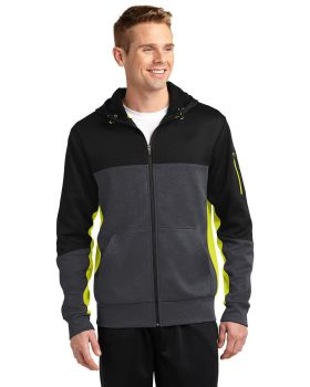 Sport Tek ST245 Tech Fleece Colorblock Full-Zip Hooded Jacket ST245