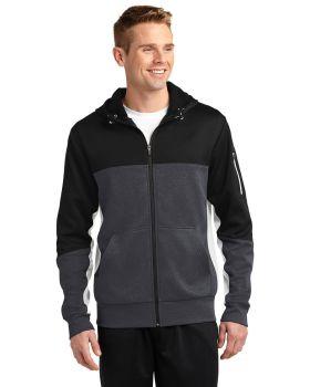 'Sport Tek ST245 Tech Fleece Colorblock Full-Zip Hooded Jacket ST245'