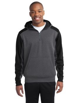 Sport Tek ST249 Colorblock Tech Fleece 1/4-Zip Hooded Sweatshirt