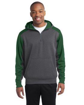 Sport Tek ST249 Colorblock Tech Fleece 1/4-Zip Hooded Sweatshirt