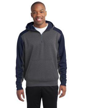 'Sport Tek ST249 Colorblock Tech Fleece 1/4-Zip Hooded Sweatshirt'