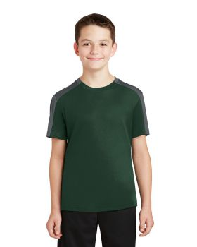 Sport Tek YST354 Youth Posicharge Competitor Sleeve-Blocked Tee