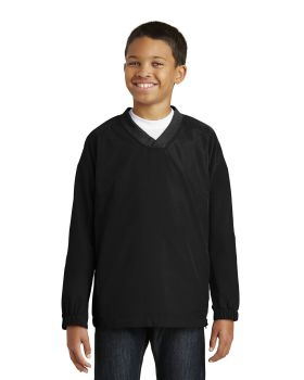 Sport Tek YST72 Youth V-Neck Raglan Wind Shirt