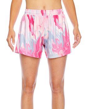 Team 365 TT42W Ladies' Tournament Sublimated Pink Swirl Short