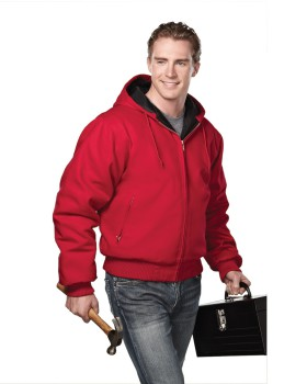 Tri-Mountain 4600 Cotton canvas hooded work jacket with quilted lining.