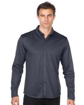 Tri-Mountain GOLD K519 Men's Knit Jacquard Button-Down Shirt