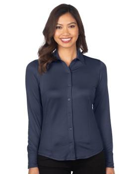 Tri-Mountain GOLD KL519 Women's Knit Jacquard Button-Down Shirt