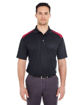 UltraClub 8215 Adult Cool & Dry Two-Tone Mesh Piqué Polo