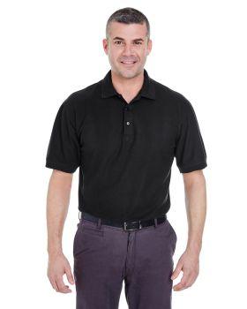 4XL Ultraclub 8540 Mens Whisper Pique Blend Polo Black Heather