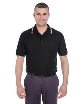 UltraClub 8545 Men's Short-Sleeve Whisper PiquéPolo with Tipped Collar and Cuffs
