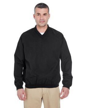 UltraClub 8926 Adult Long-Sleeve Microfiber Crossover V-Neck Wind Shirt