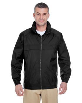 UltraClub 8929 Adult Full-Zip Hooded Pack-Away Jacket