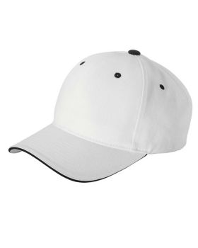 Yupoong 6262S Adult Brushed Cotton Twill 6-Panel Mid-Profile Sandwich Ca ...