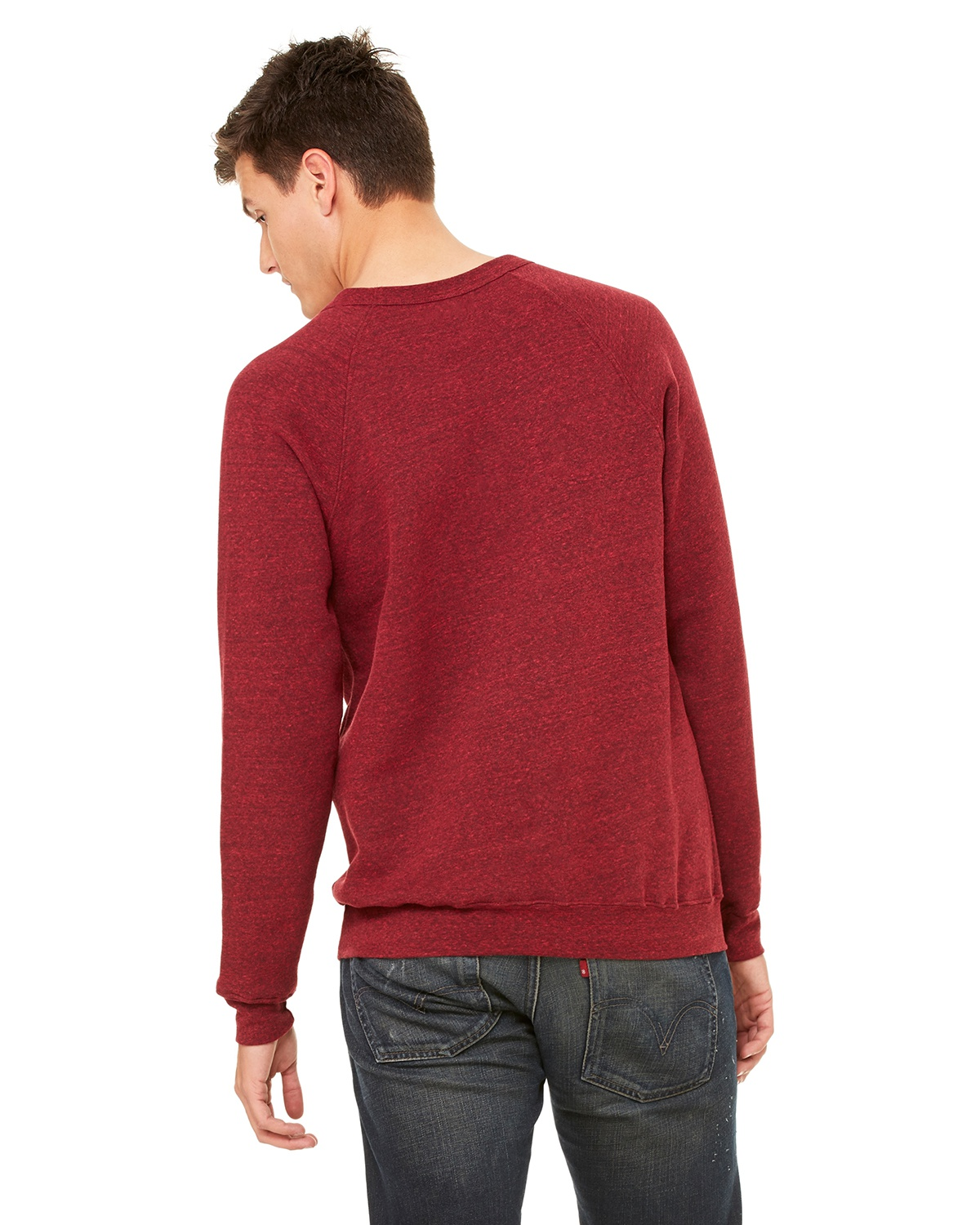 XS Red Heather Canvas 3901 Unisex Triblend Sponge Fleece Pullover