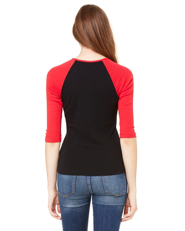 Medium Canvas Ladies Baby Rib 3//4-Sleeve Raglan T-Shirt Bella Wht//Red