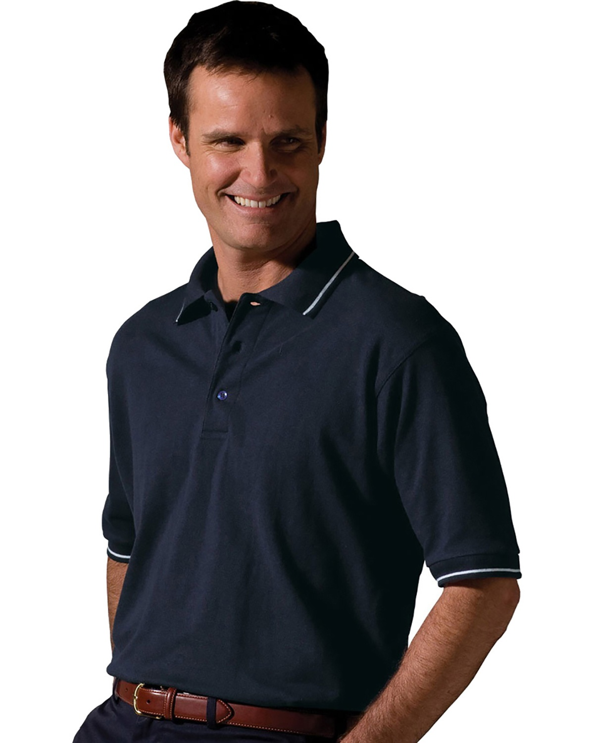 'Edwards 1510 Blended Pique Short Sleeve Polo With Tipped Collar/Sleeve'