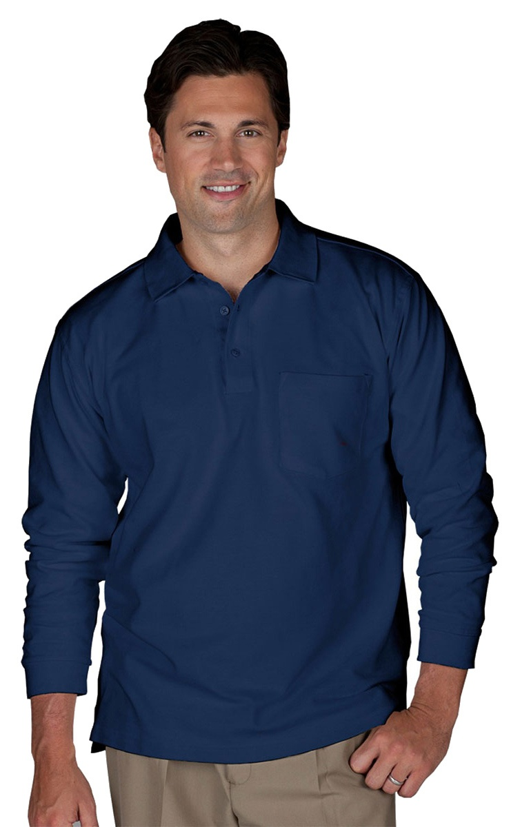 'Edwards 1525 Blended Pique Long Sleeve Polo With Pocket'