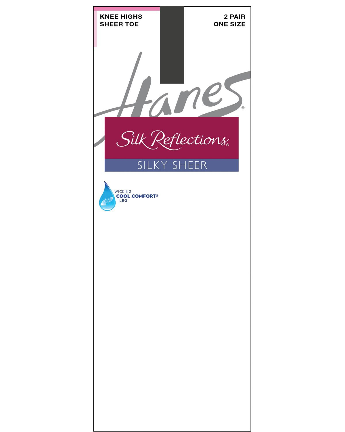 'Hanes 00725 Women's Silk Reflections Silky Sheer Knee Highs 2 Pack'