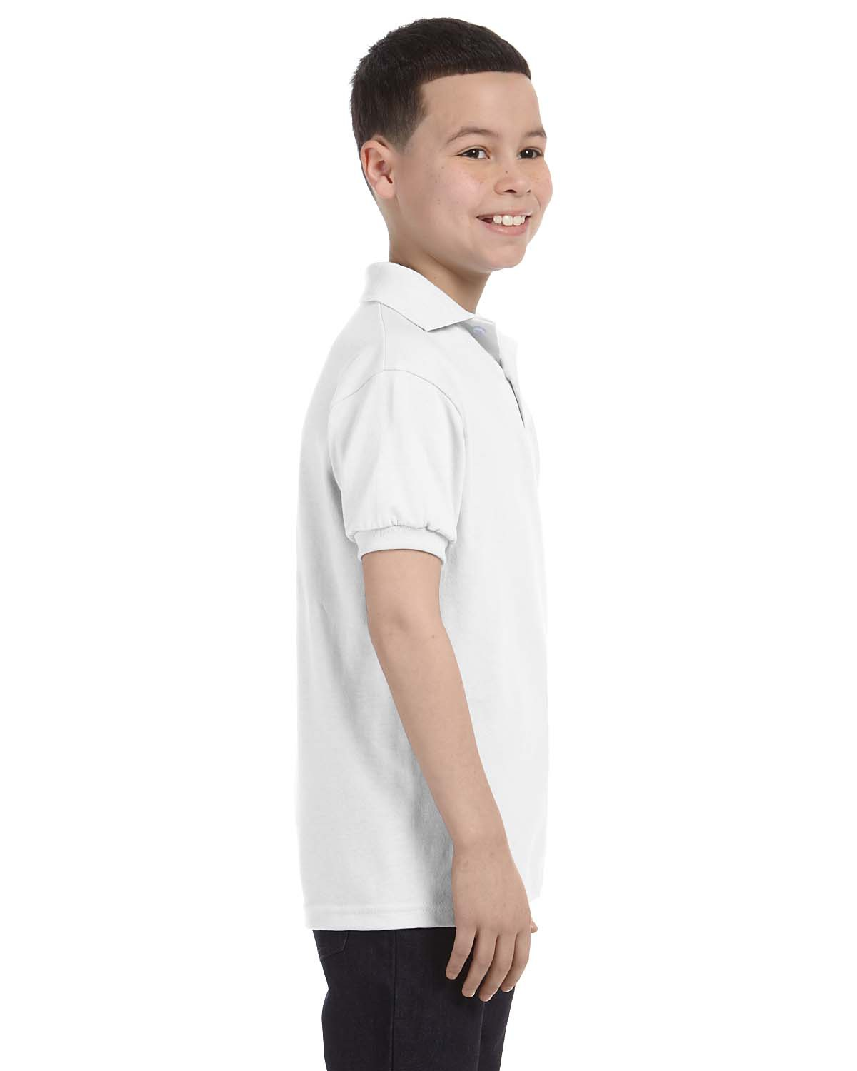 'Hanes 054Y Kids' Cotton-Blend EcoSmart Jersey Polo'