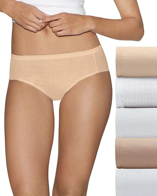 'Hanes 41HUCC Ultimate Comfort Cotton Women's Hipster Panties 5-Pack'