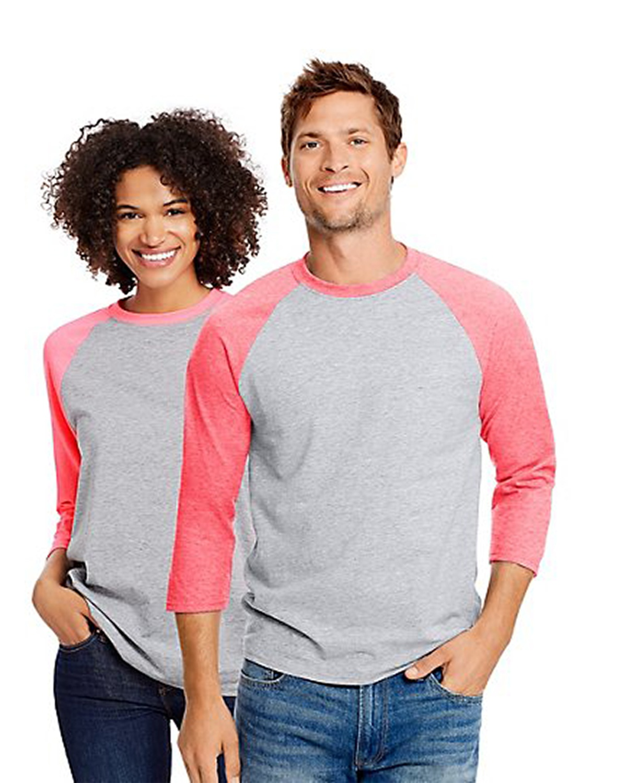 'Hanes 42BA Unisex X Temp Baseball Ring Spun Cotton Polyester T-Shirt'