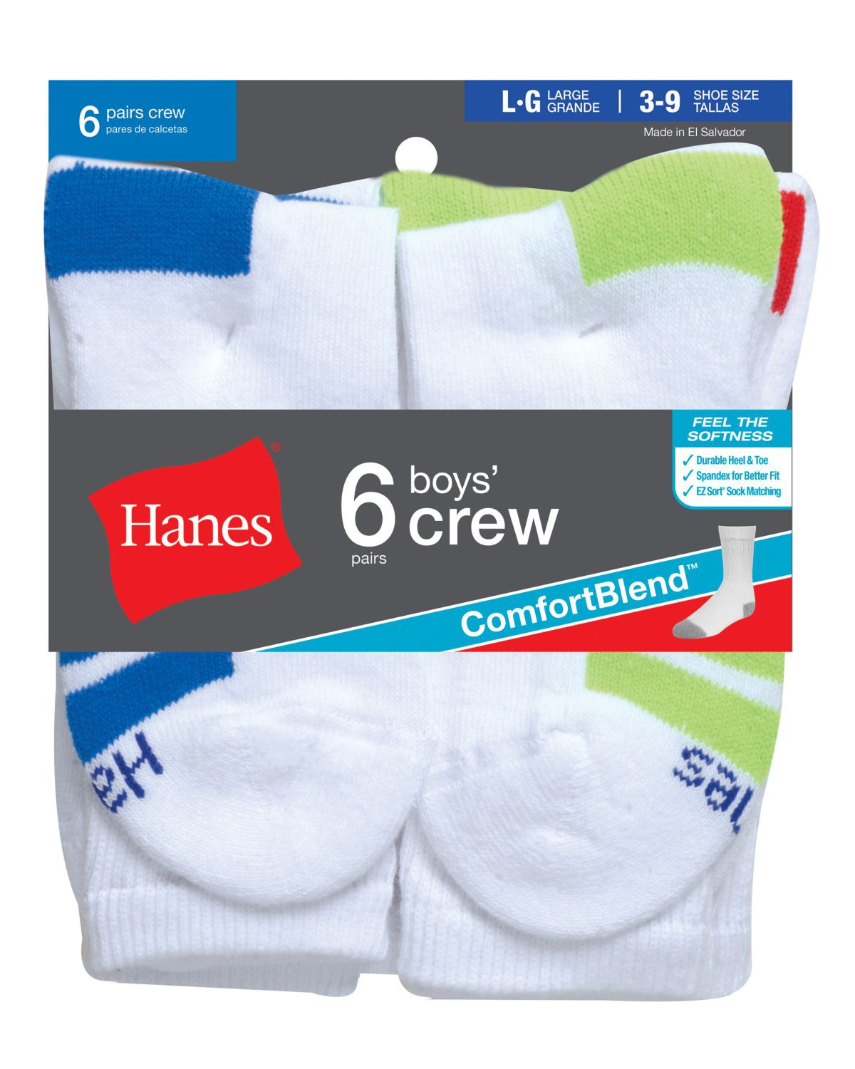 'Hanes 431/6 Boys' Crew ComfortBlend Assorted Socks 6-Pack'