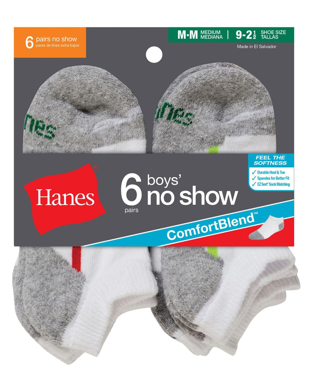 'Hanes 434/6 Boys' No-Show ComfortBlend Assorted White Socks 6-Pack'