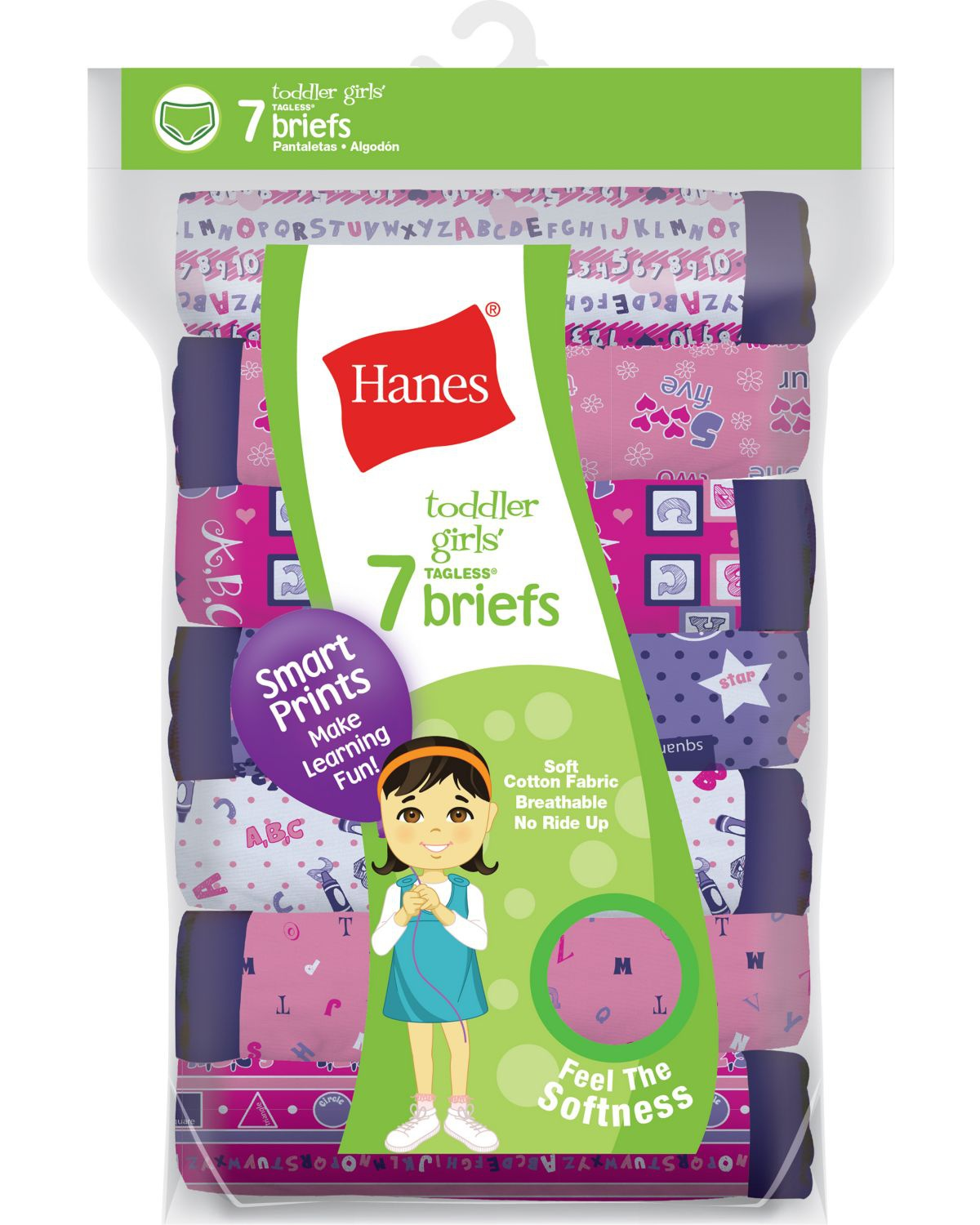 'Hanes GTHMT7 Tagless Toddler Girls Days of the Week Pre-Shrunk Cotton Briefs 7-Pack'