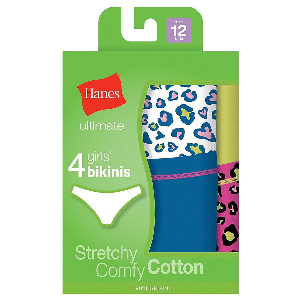 'Hanes GUCKP4 Ultimate TAGLESS Cotton Stretch Girls' Bikinis 4-Pack'