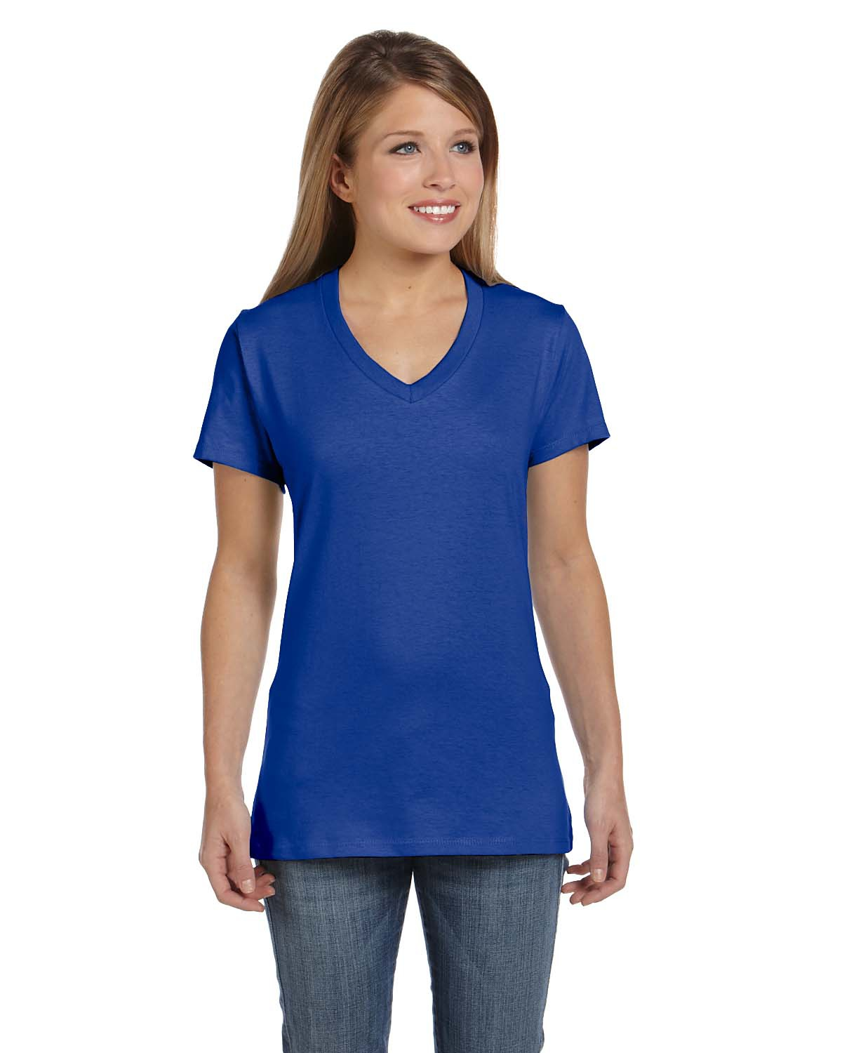 'Hanes S04V Ladies' Ringspun Cotton nano-T V-Neck T-Shirt'