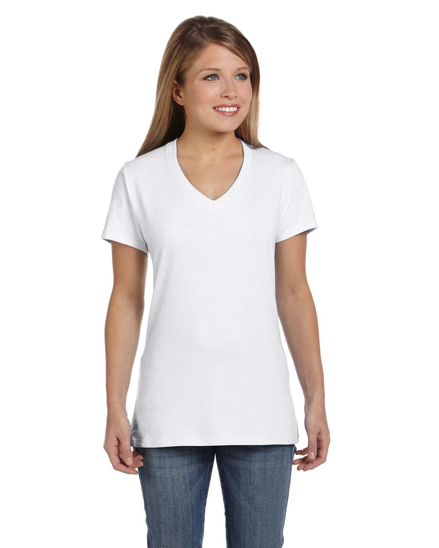 'Hanes S04V Ladies Nano Ringspun Cotton Tee V Neck T-Shirt'