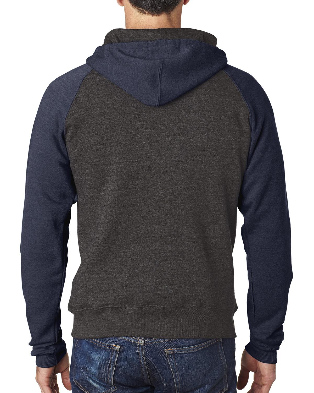 'J America JA8874 Adult Triblend Colorblock Full-Zip Fleece Hood'