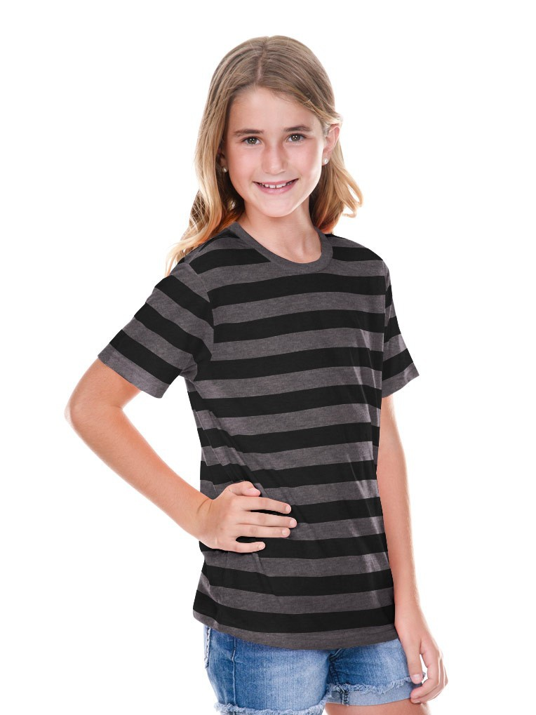 422f2addbe Kavio YJP0605 | Buy Girl's Striped Jersey Crew Neck Short Sleeve Tee ...