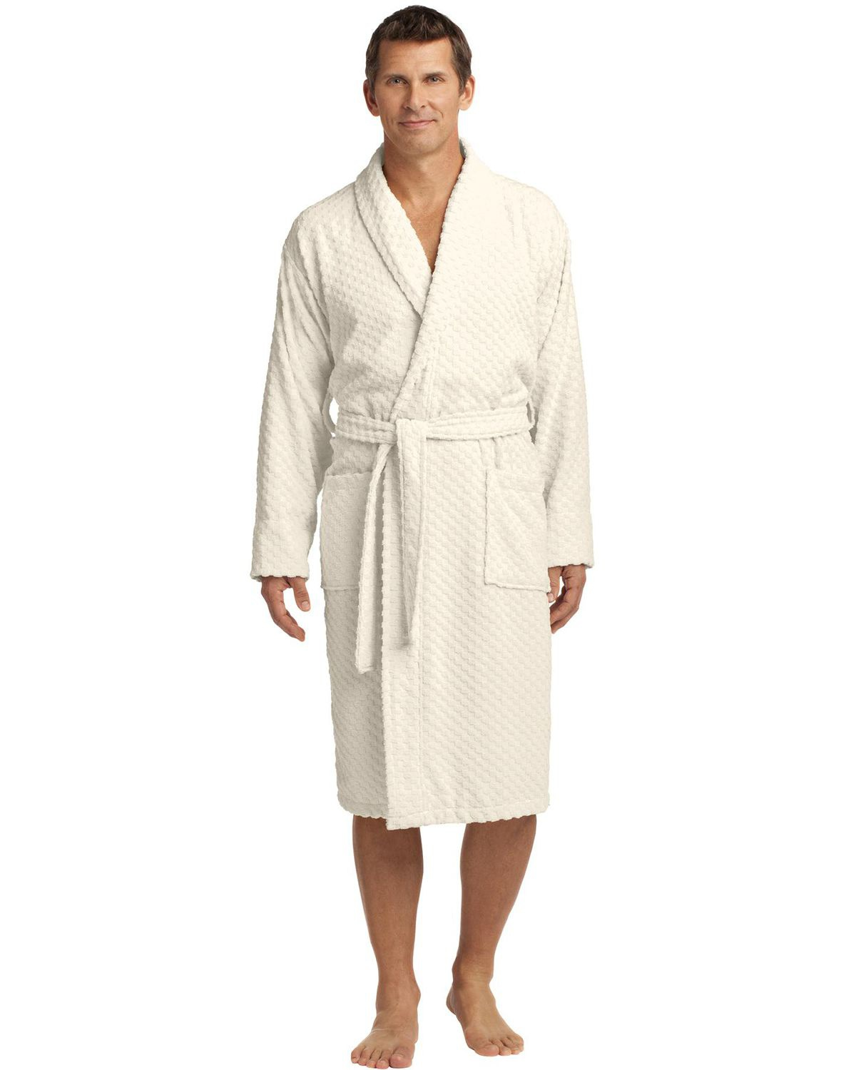 'Port Authority R103 Checkered Terry Shawl Collar Robe'
