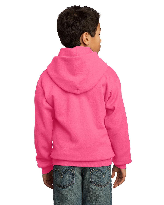 XS Port /& Company PC90YH Youth Pullover Hooded Sweatshirt Dark Chocolate Brown