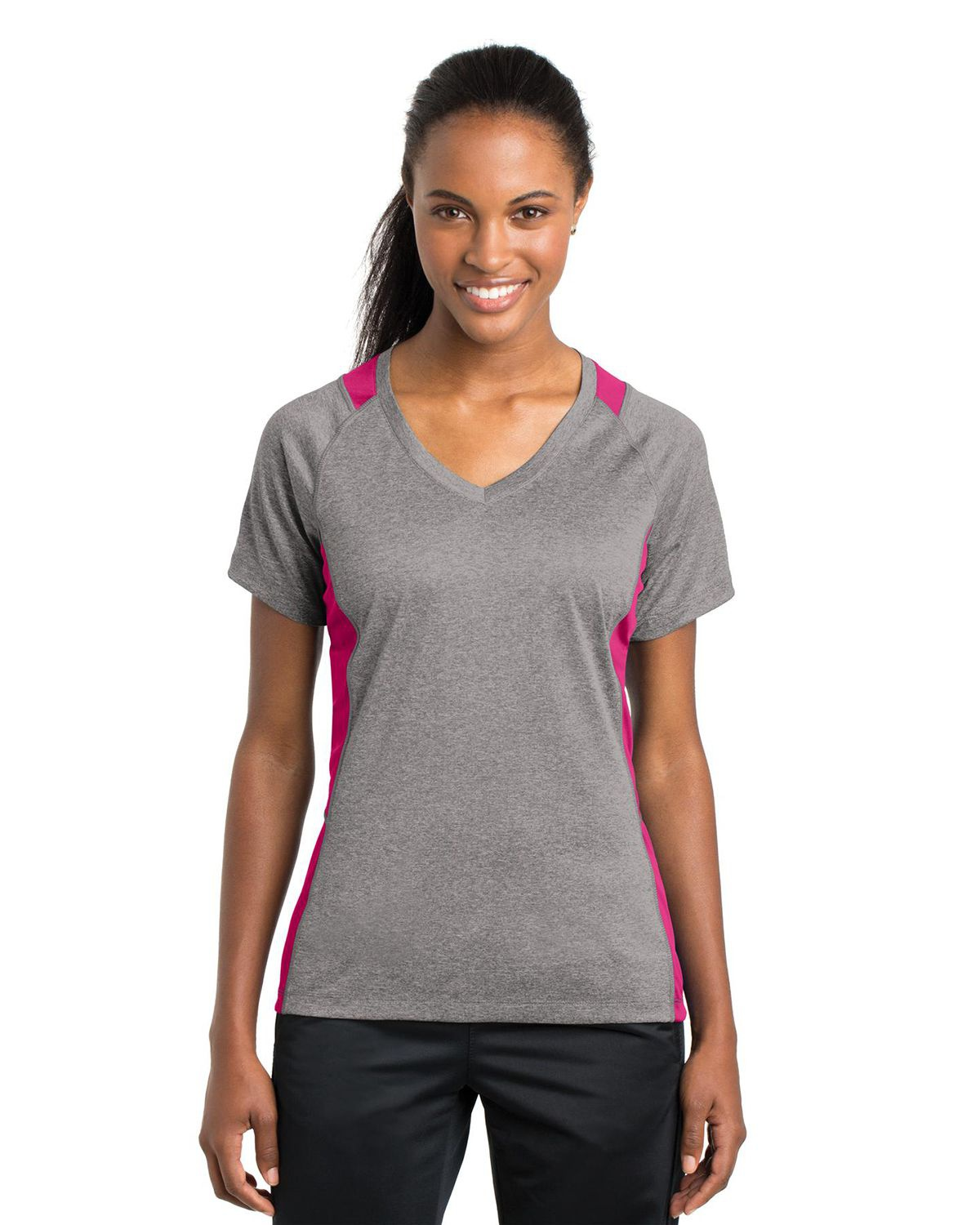 'Sport Tek LST361 Ladies Heather Colorblock Contender V-Neck Tee'