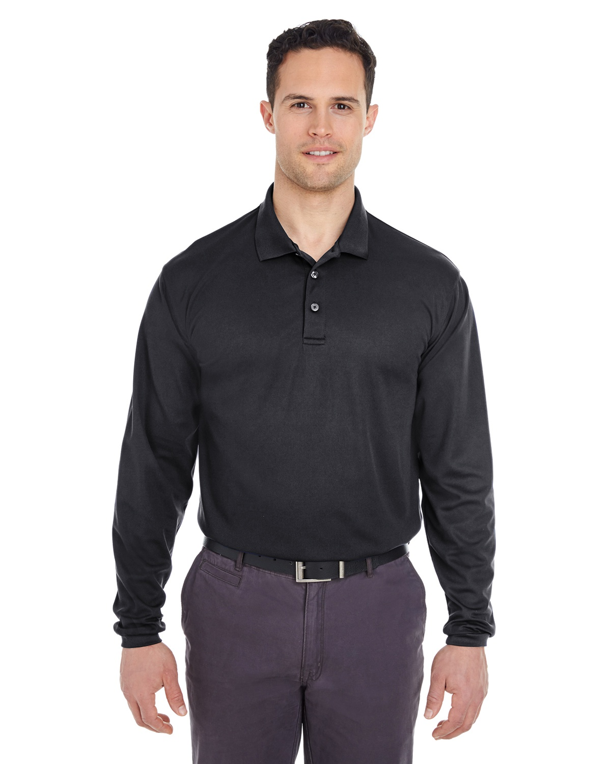 'UltraClub 8210LS Adult Cool & Dry Long-Sleeve Mesh Piqué Polo'