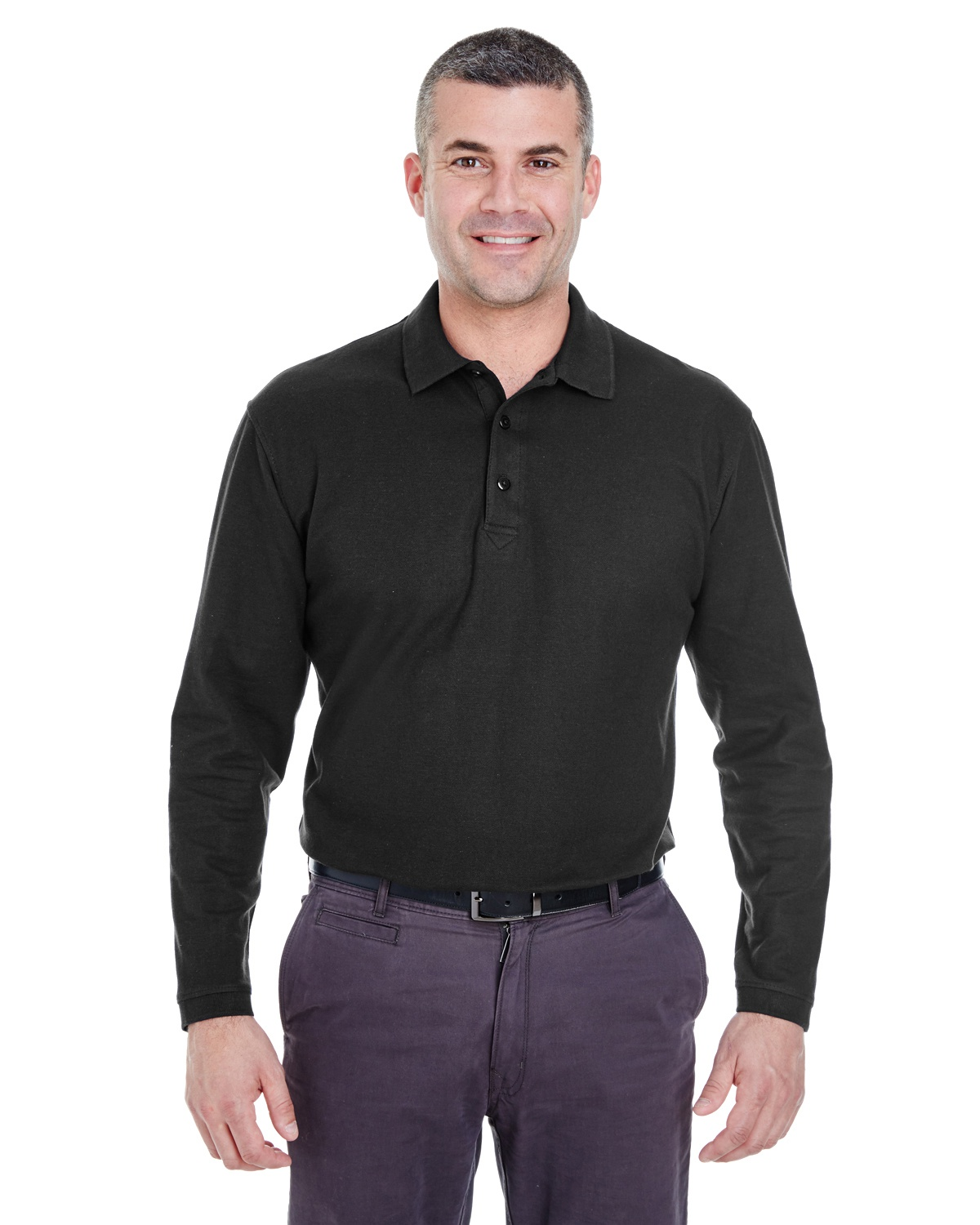 'UltraClub 8542 Adult Long-Sleeve Whisper Piqué Polo'