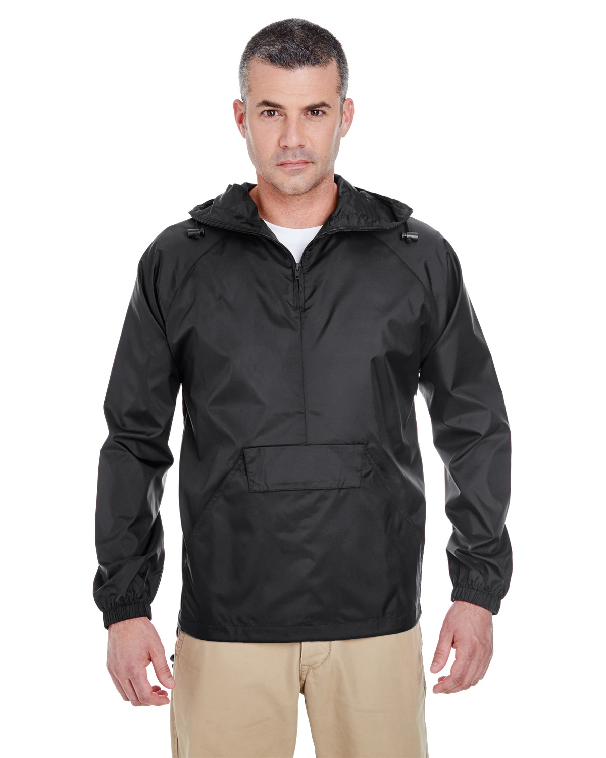 'UltraClub 8925 Adult Quarter-Zip Hooded Pullover Pack-Away Jacket'